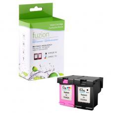 Recyclée HP63 XL Noir / Couleur Fuzion (HD) Avec niveaux d'encre